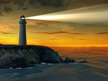 Lighthouse at sunset. Guiding beacon from a lighthouse. Digital illustration stock illustration
