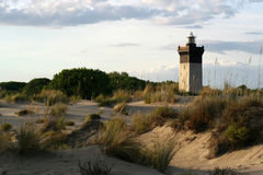Lighthouse at sunset. Lighthouse in the camargue at sunset royalty free stock photo