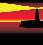 Lighthouse at sunset royalty free illustration