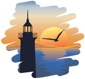 Lighthouse at sunset. Sunset seascape with lighthouse and seagull in brush strokes shaped vignette vector illustration
