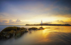 Lighthouse sunset. Activity time at lighthouse sunset beautiful Stock Images