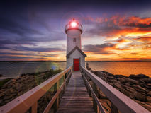Lighthouse at sunset. Annisquam lighthouse at sunset, located in Gloucester, MA. USA Stock Images