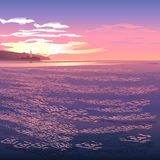 Lighthouse at sunset. Lighthouse and the bay at sunset royalty free illustration