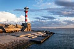 Lighthouse at sunset, Black sea, Bulgaria Royalty Free Stock Image