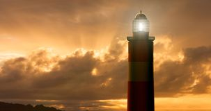 Lighthouse at Sunset. 3D rendering of Lighthouse at Sunset vector illustration
