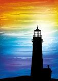 Lighthouse on the sunset. Digital watercolor painting stock illustration