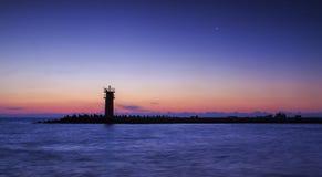 Lighthouse on sunset.dramatic sky lights Stock Photo