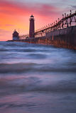 Lighthouse at Sunset. A lighthouse in the glow of sunset Royalty Free Stock Image