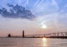 Lighthouse Sunset Stock Image