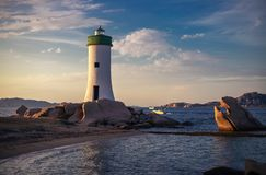 Lighthouse at sunset in Italy royalty free stock image