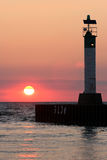 Lighthouse at Sunset Lake Huron Royalty Free Stock Photography