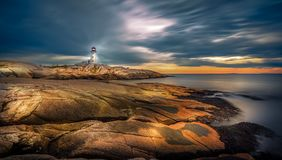 Lighthouse at Sunset. Last year I made a trip to Canada and New England where I had the opportunity to capture some of the iconic landscapes of the region stock photos