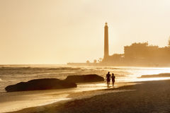 Lighthouse at sunset. Maspalomas beach.Gran Canaria Royalty Free Stock Images