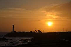Lighthouse Sunset. Sunset at Pigeon Point Lighthouse Royalty Free Stock Images