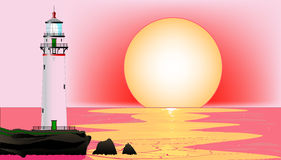 Lighthouse Sunset. A lighthouse at runset, set against a pink sky and sea royalty free illustration