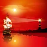 Lighthouse at sunset. Lighthouse searchlight beam near ocean at sunset. Vector illustration stock illustration