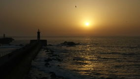 Lighthouse in the sunset 05 stock video footage