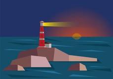 Lighthouse During Sunset. Vector flat design illustration stock illustration