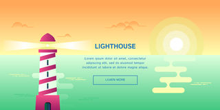 Lighthouse with sunset view. Vector banner template royalty free illustration