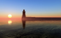 Lighthouse Sunset stock photo