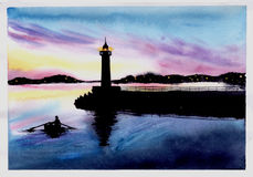 Lighthouse at sunset. Watercolor illustration. Lighthouse at sunset. Watercolor illustration stock images