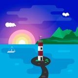 Lighthouse at sunset. Lighthouse and yacht at sunset illustration stock illustration
