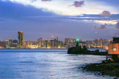 Lighthouse at sunset in Yau Tong Lei Yue Mun Stock Photo