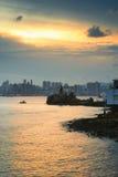 Lighthouse at sunset in Yau Tong Lei Yue Mun. Lighthouse at sunset in  Lei Yue Mun water bay Stock Photo