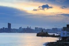 Lighthouse at sunset in Yau Tong Lei Yue Mun Royalty Free Stock Image
