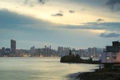 Lighthouse at sunset in Yau Tong Lei Yue Mun Royalty Free Stock Photos