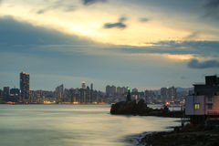 Lighthouse at sunset in Yau Tong Lei Yue Mun Royalty Free Stock Photography