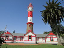 Lighthouse in Swakopmund Namibia with blue sky background royalty free stock photography