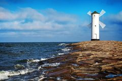 Lighthouse in Swinoujscie stock photo