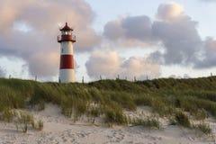 Lighthouse, Sylt. Ellenbogen Lighthouse On Sand Dune - Sylt, Germany stock photos