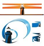 Lighthouse symbol set Stock Photos