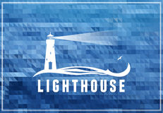Lighthouse symbol. Vector poscard, poster, symbol with sea-blue background Royalty Free Stock Image