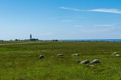 The lighthouse tall Jan at the south end of the island Oland. Minimalistic view of the the lighthouse tall Jan at the south end of the island Oland outside the Royalty Free Stock Photo