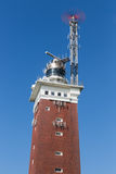 Lighthouse with telecommunication equipment at German island Helgoland. Red lighthouse with telecommunication equipment at German island Helgoland stock photography