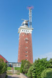 Lighthouse with telecommunication equipment at German island Helgoland. Red lighthouse with telecommunication equipment at German island Helgoland stock image