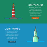 Lighthouse template banners, logo or label. Stock Photos