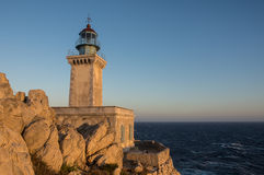 Lighthouse Tenaro at sunset Stock Photography