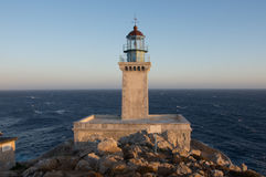Lighthouse Tenaro at sunset Stock Photos