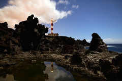 Lighthouse. On tenerife on the south side right out to the water with lava rocks Royalty Free Stock Photo