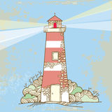 Lighthouse on a textured background Stock Images