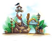 Lighthouse theme image. Pirates illustration. Royalty Free Stock Image