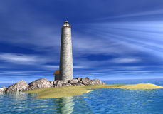Lighthouse to you. 3 d Illustration of a lighthouse beacon on a beech Royalty Free Stock Images