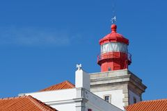Lighthouse top in Cabo Da Roca, Portugal. Cabo da Roca is the most westerly point of the Europe mainland Royalty Free Stock Photography