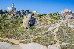 Lighthouse on Top of Capo Testa. North of Sardinia.  Royalty Free Stock Images