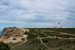 Lighthouse on top of cliff and surrounded by vegetation at Cape Espichel. Lighthouse on top of cliff and surrounded by vegetation under cloudy sky at Cape Royalty Free Stock Images