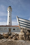 Lighthouse on Torrox, Málaga, Spain. Lighthouse in a spanish town, near to the sea near to a boat Royalty Free Stock Photos